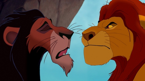 "What did Scar say to Mufasa for him to say: ........................... ""Is that a challenge!"" ?"
