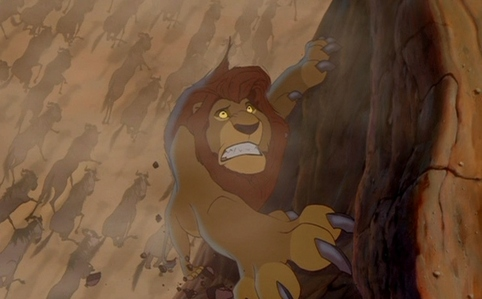 What does Mufasa say to Scar in desperation?