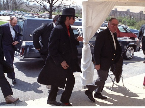 This photograph of Michael was taken at Ryan White's funeral back in 1990