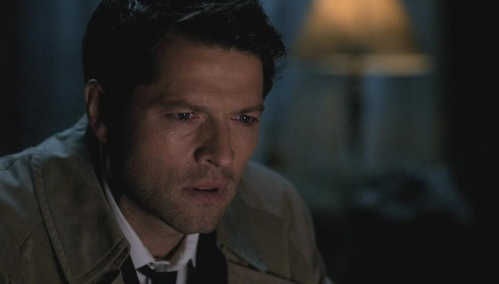 What/whom is Castiel watching?