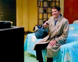 Which cartoon is Castiel watching?
