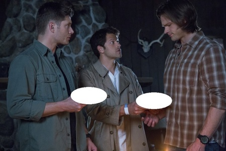 What's Castiel serving Sam and Dean?