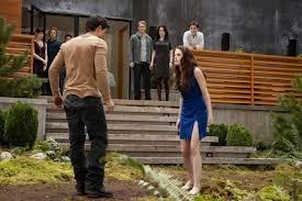 True or False: Edward was laughing when Bella was attacking Jacob for imprinting on their daughter.