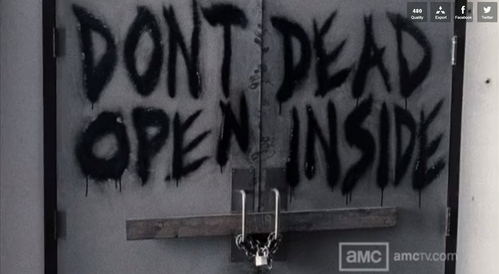 Who wrote 'Don't Open, Dead Inside' on the hospital's cafeteria's door?