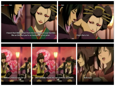 In which episode of the first season is Hijikata-san shown drunk?