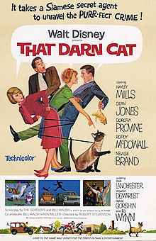"""The is the movie poster promoting the 1965 version of """"That Darn Cat"""""""