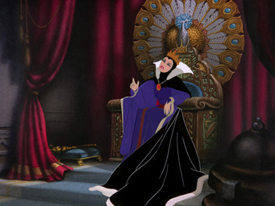 There is a peacock atop the Evil Queen's throne. What does it represents?