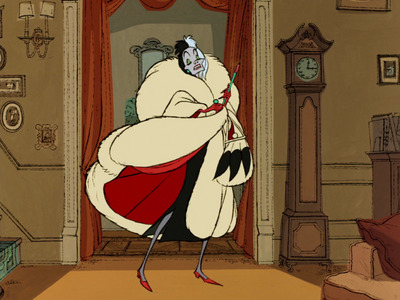 According to the book which the movie is based of, in 101 Dalmatians, what is Cruella's fur coat made of?