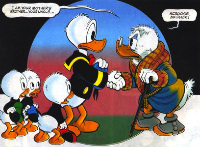 What año does Scrooge officially meet his nephew Donald Duck?