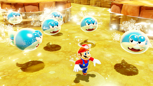 These rare enemies calmly swim on the water surface. As they spot Mario, they swim at his direction, and will keep doing so if Mario dives into the water