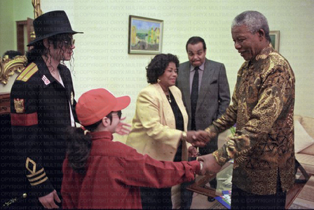 This photograph of the Jackson family with Nelson Mandela was taken while on tour in South Africa back in 1997