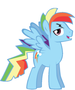 What is the name of cầu vồng Dash's gender swap pony?