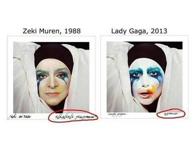 Lady Gaga plagiarized the cover of Alkışlarla Yaşıyorum (I Live with Applauses) song of Zeki Müren, a prominent Turkish musician, on Applause cover. True 或者 false?