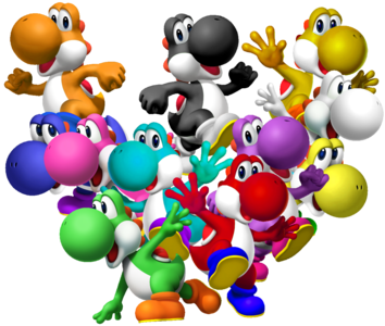 Why are ALL the yoshis eyes blue?
