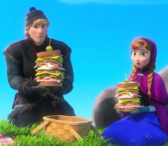 What are Anna and Kristoff doing in this scene?