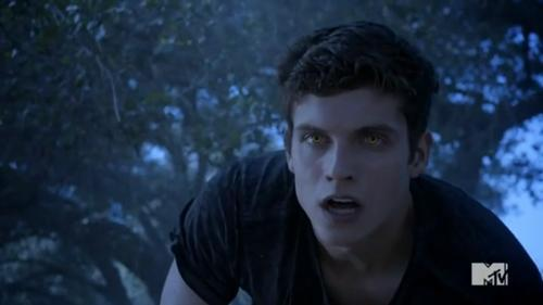 What color are Isaac's werewolf eyes in this scene.