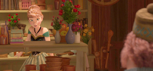 What time is it when Anna comes to Oaken's Trading Post?