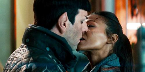 What did Uhura say to Spock before she kissed him in this scene from Star Trek into Darkness?