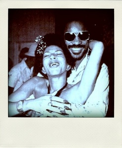 Who is this lady in the photograph with Stevie Wonder