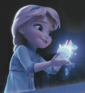 T/F: When Elsa was forming a snowball [when she was young] there was a snowflake that can be seen.