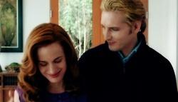 True or False: Esme and Carlisle kiss in this scene?