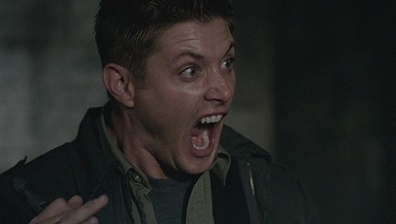What comes out of a locker that makes Dean scream?