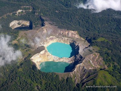 Where are these three colored crater lakes located?