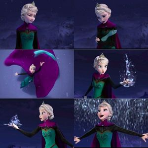 True or False: When Elsa transformed into the true Queen of the Ice and Snow, her dress changed.
