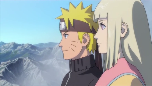 What is the name of the girl beside Naruto?