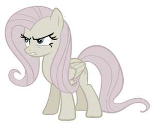 why is fluttershy grey like this