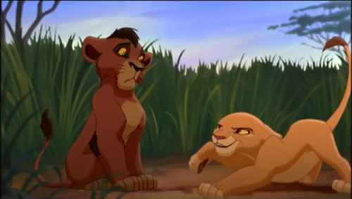 How many time Kiara tagging Kovu in this scene ?