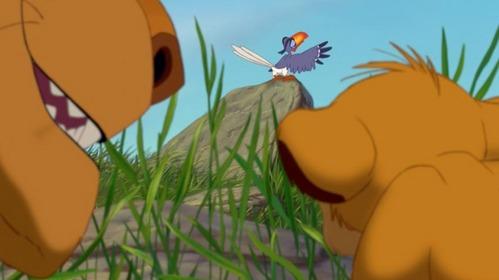 Simba pouncing on Zazu's ...