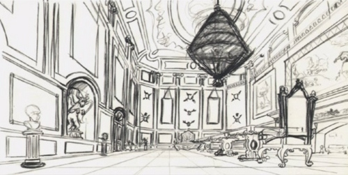 This drawing is a concept art for which castelo featured in a disney Princess movie?