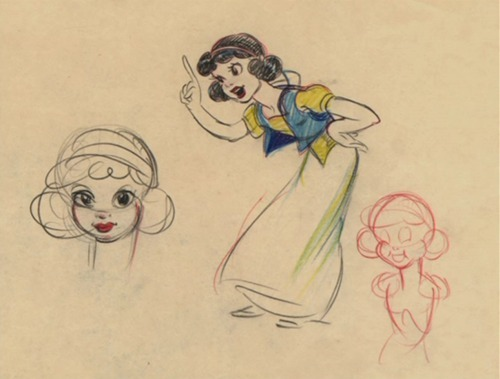 This concept art for a Silly Symphony short inspired the character design for Snow White.