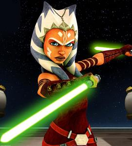 In which season of the clone wars did Ahsoka start using a секунда lightsaber?