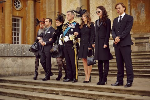 For whose funeral is the royal family dressed in black?