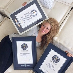 shakira was included in the guinness Book of World Records for accomplishing something on what site?