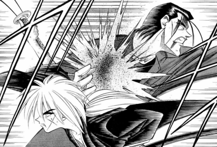 When Kenshin and Saitou charged at each other before their battle was interrupted, what was Kenshin holding?