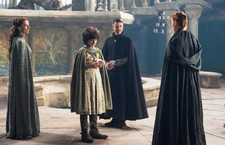 Which name Sansa used to introduce herself during her visit in the Eyrie in the Vale of Arryn?