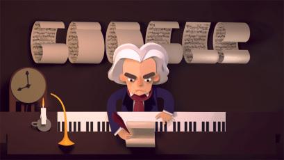 google celebrating Ludwig furgão, van Beethoven's ______ ano (December17,2015.)