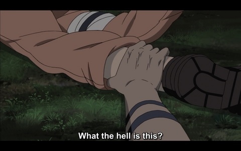 Who cuts the hand off Naruto's leg?