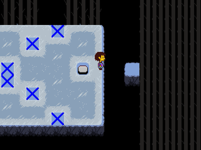 """After the last """"X into O"""" ice puzzle before reaching Snowdin, there is a corridor where random snow things appear on the character's head. Which is NOT one of the things?"""