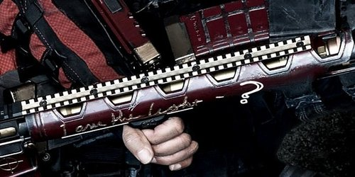 What is engraved on Deadshot's weapon ?