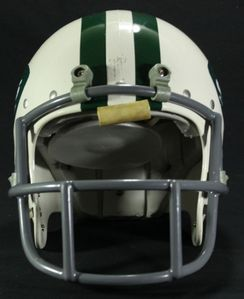 Which National Football League team 头盔 has two green stripes running across the 最佳, 返回页首 of the helmet, from front to back?