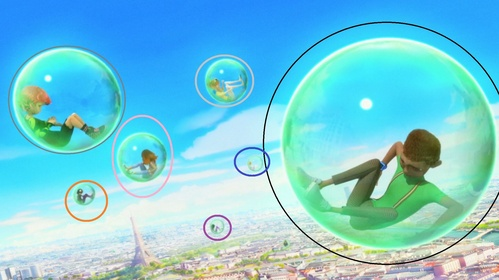 Who's stuck in the bubble with the blue circle?