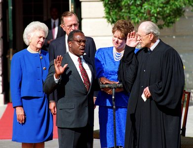 Clarence Thomas being sworn in as Supreme Court Justice in 1991