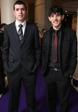 What is the name of Colin Morgan's brother who actually came to visit him when still on set of BBC Merlin?