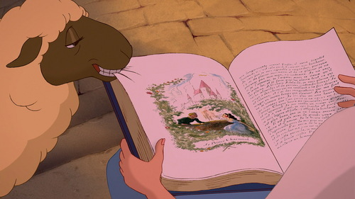 What book is Belle 読書 in Beauty and the Beast?