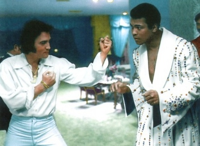 Who is this legendary fighter in the photograph with Elvis
