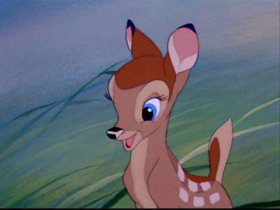 When Faline first met Bambi, she found him  __